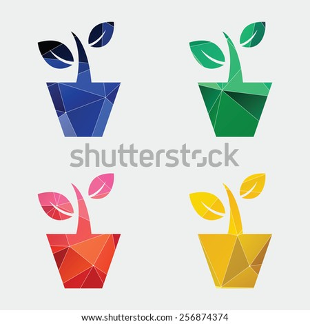 houseplant icon Abstract Triangle Geometrical background  - stock vector
