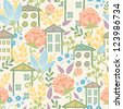 Houses among flowers seamless pattern background - stock photo
