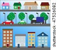 Houses and cars icon - stock vector