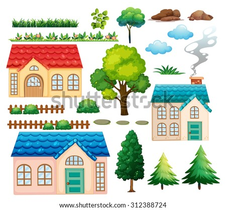 Houses and different plants illustration