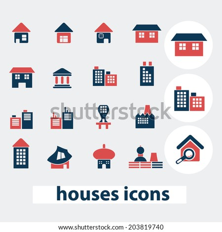houses, buildings, icons, signs, symbols, vector set - stock vector