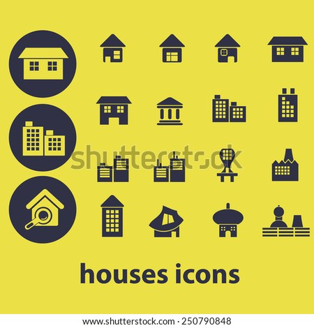 houses, buildings, infrastructure flat icons, signs, illustrations design concept vector set - stock vector
