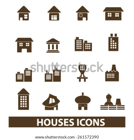 houses, buildings isolated icons, signs, illustrations collection concept design set for web and application on background, vector - stock vector
