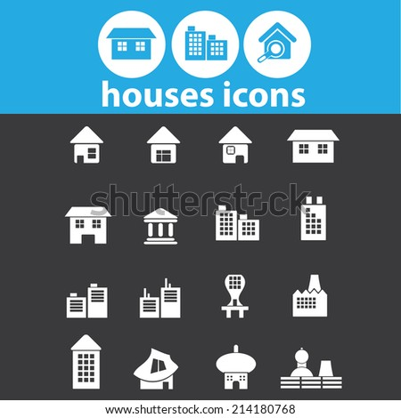 houses, buildings isolated icons, signs, vectors, illustrations, silhouettes set, vector - stock vector