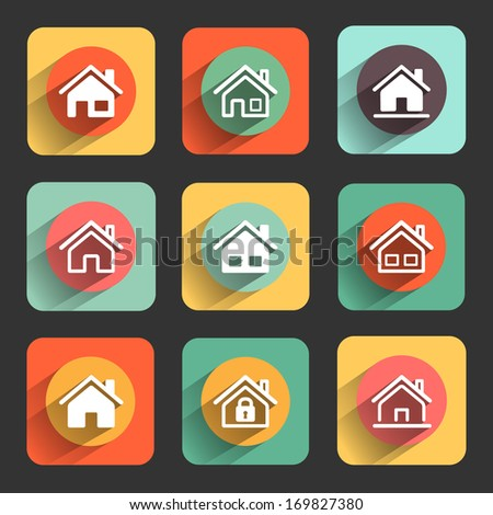 houses flat design icon set. template elements for web and mobile applications - stock vector