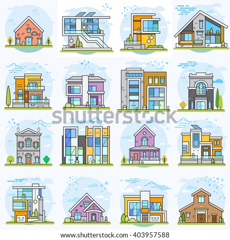 Houses. Flat vector illustration.