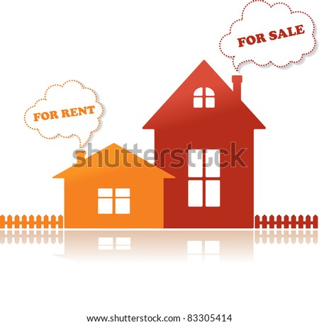 Houses for sale and for rent, vector illustration - stock vector