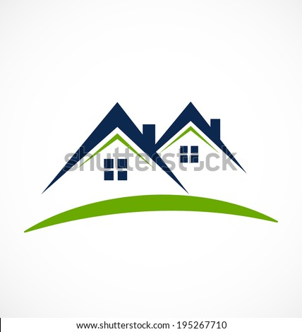 Houses icon business card for construction industry vector design - stock vector