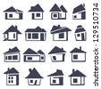 houses icons set - stock