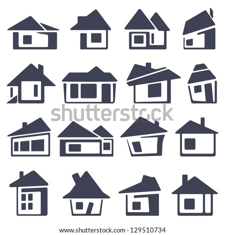 houses icons set - stock vector