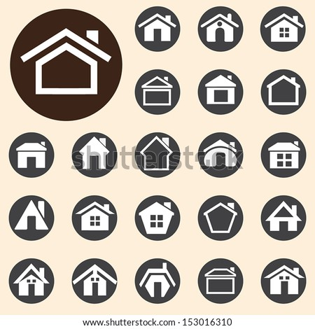 Houses icons set. A vector illustration - stock vector