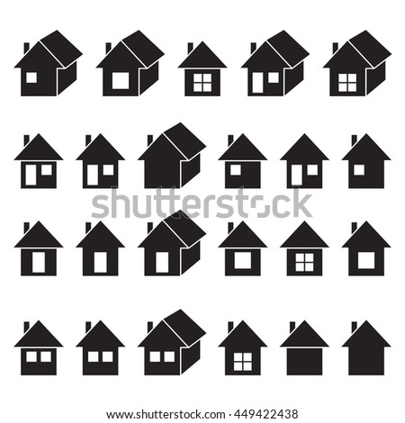 Houses icons set, real estate, black isolated on white background, vector illustration.