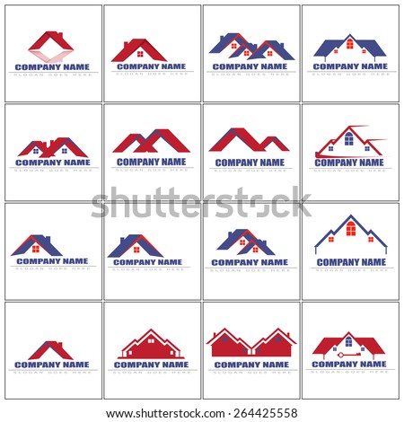 Houses icons set. Real estate logo icon vector illustration. - stock vector