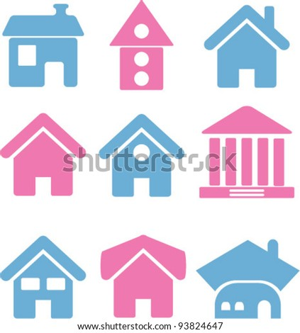 houses icons set, vector illustrations - stock vector