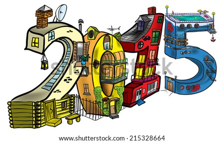 Houses in the form of figures in 2015 - stock vector