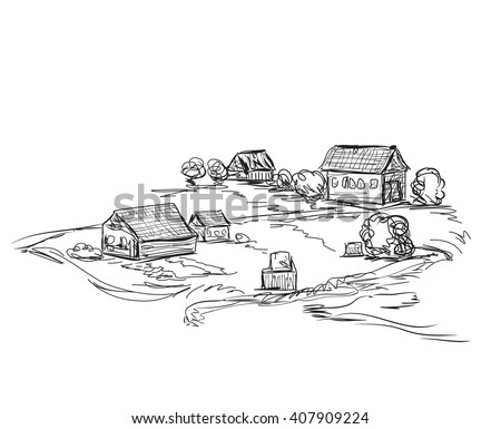 Houses in village, Countryside landscape, Hand drawn illustration sketch. - stock vector