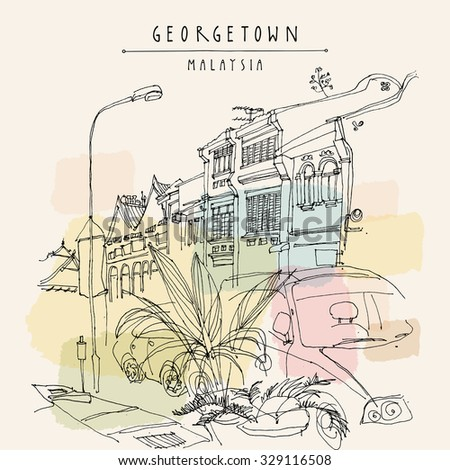 Houses, lamp, car and tropical plants in Georgetown historic center. Malaysia, Southeast Asia. Colonial buildings. Vintage postcard template. Vector - stock vector