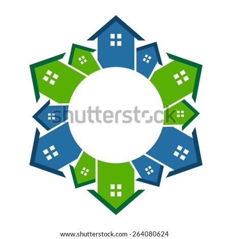 Houses neighborhood circle - stock vector