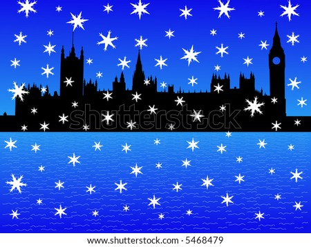 Houses of parliament London in winter with falling snow - stock vector