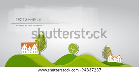houses on the green hills - stock vector