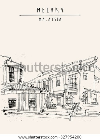 Houses on the river in Melaka, Malaysia, Southeast Asia. Colonial buildings. Vintage postcard - vector template