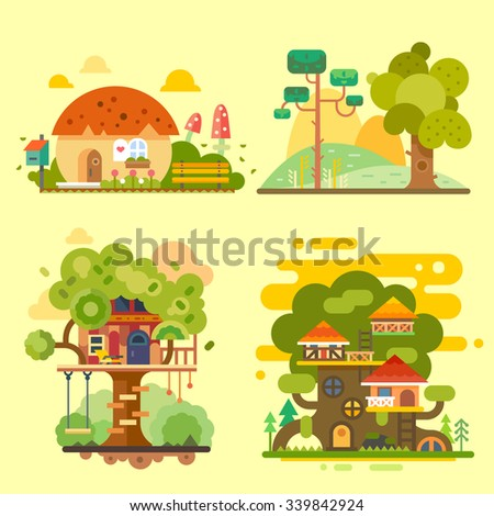 Houses on the tree, magic hut on a village, beautiful summer landscape. Flat vector illustration stock set.  - stock vector