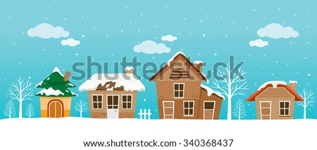 Houses Panorama, Landscape, Winter, Season, Building, Outdoor