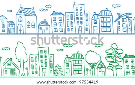 Houses seamless pattern background - small town. Vector illustration.