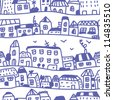 Houses seamless pattern doodle design - stock