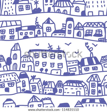 Houses seamless pattern doodle design - stock vector