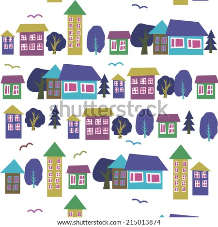 Houses seamless pattern,street, houses,pattern with decorative colorful houses. City background.
