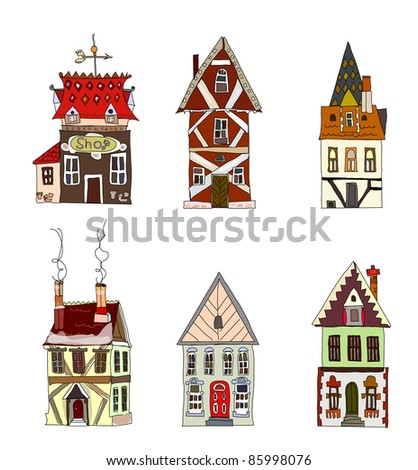 Houses set - stock vector