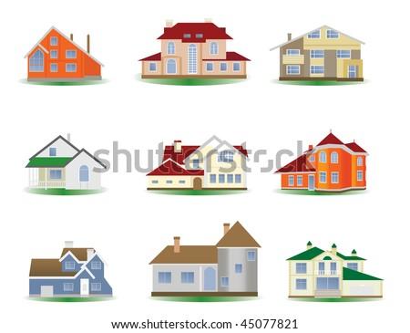 Houses. Set. Vector illustration - stock vector
