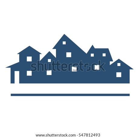 houses silhouettes vector buildings logo stock vector 547812493 rh shutterstock com old house silhouette vector haunted house silhouette vector