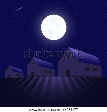 Houses under the stars - vector