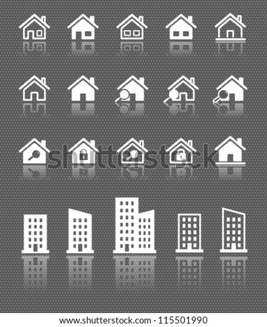 houses web icons set with reflection on dark background - stock vector