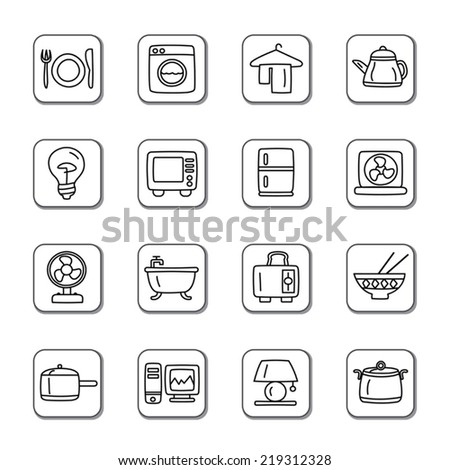 Houseware Doodle Icons - stock vector