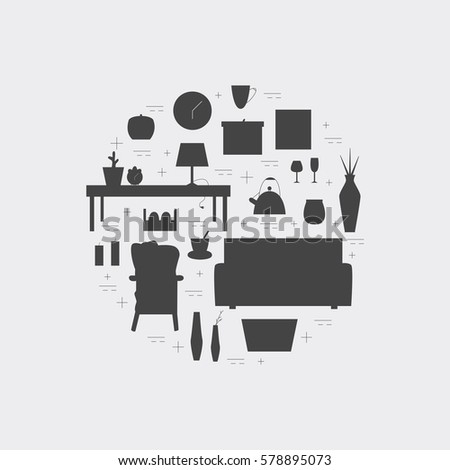 Homewares Black Icon Set Interior Design Round Concept