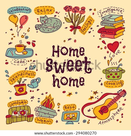 Housewarming sweet home greeting card. Set of home and family color symbols. Signs of happy family domestic life. Every object is separated. Color vector illustration.  - stock vector