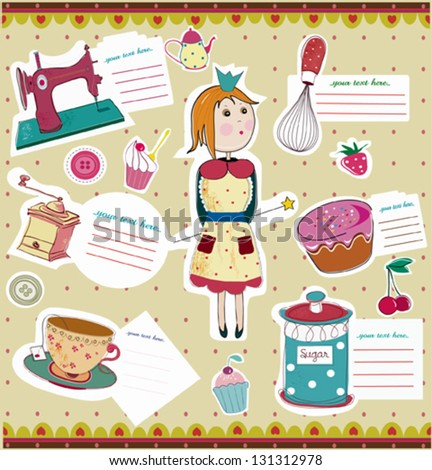 housewife and a set of kitchen elements and recipe cards - stock vector