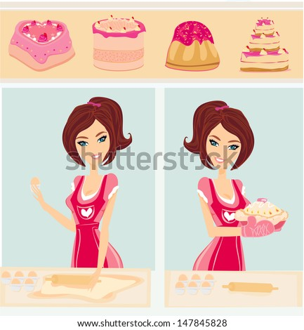 housewife bakes cakes and cookies - stock vector