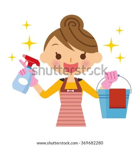 Housewife cleaning - stock vector