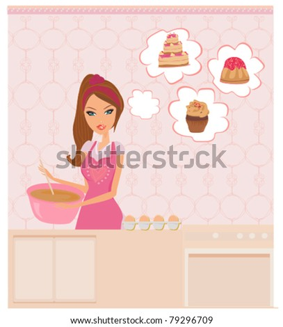 Housewife cooking - stock vector