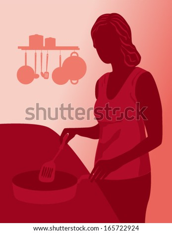Housewife cooking. Woman in kitchen. Silhouette of beautiful girl cooking. Silhouette in red. Vector illustration. Eps 10.  - stock vector