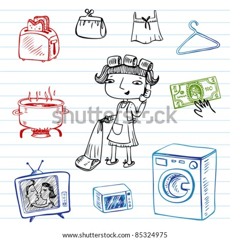 Housewife, Hipsters doodle set - stock vector