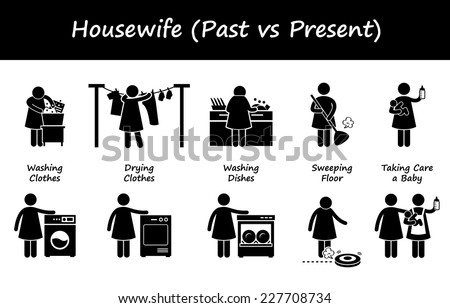 Housewife Past versus Present Lifestyle Stick Figure Pictogram Icons - stock vector