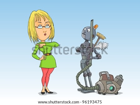 Housewife puts off the robot cleaner - stock vector