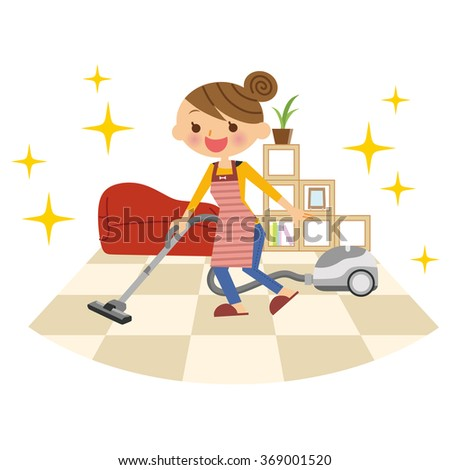 Housewife to clean with a vacuum cleaner. - stock vector
