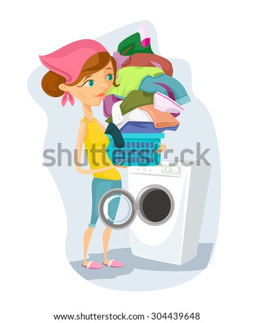 Housewife washes. Vector flat cartoon illustration - stock vector
