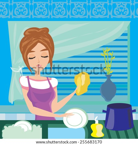 housewife washing the dishes at night  - stock vector